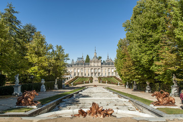 baroque fountain of the gardens of the royal palace of The Farm of San Ildefonso in Segovia, Castile, Spain.