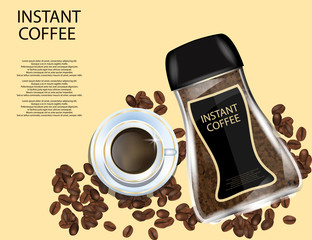 Coffee Glass Jar with White Cap, Instant Coffee Granules and Coffee Beans Isolated on Yellow Background.