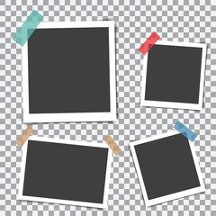 Set of retro photo frame with shadow on sticky tape on a transparent background