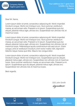 Flat style modern blue letterhead template