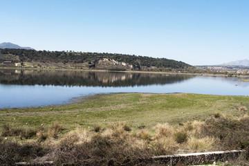 Embalse de Pedrezuela o El Vellón, situado en Guadalix de la Sierra. Comunidad de Madrid. España.