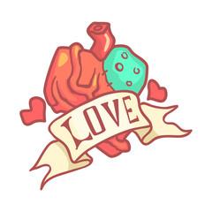 Human anatomical heart with ribbon. Colorful cartoon illustration