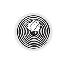 Vector sheep or ram in circle, icon, logo, template.