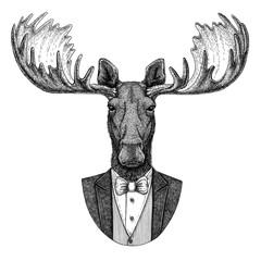 Moose, elk Hipster animal Hand drawn illustration for tattoo, emblem, badge, logo, patch, t-shirt