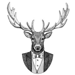 Deer Hipster animal Hand drawn illustration for tattoo, emblem, badge, logo, patch, t-shirt