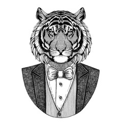 Wild tiger Hipster animal Hand drawn image for tattoo, emblem, badge, logo, patch, t-shirt