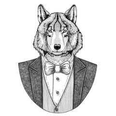 Wolf Dog Hipster animal Hand drawn image for tattoo, emblem, badge, logo, patch, t-shirt