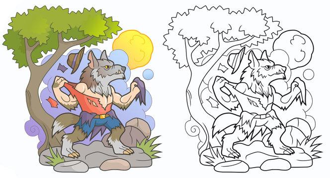 Cartoon werewolf tears his clothes