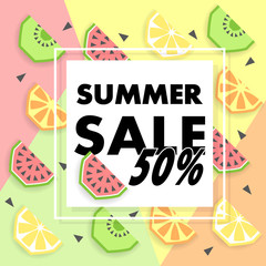 Summer sale banner with fruit, vector
