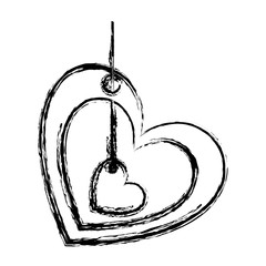 blurred sketch silhouette love heart figure hanging for decoration with another small heart inside vector illustration