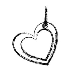blurred sketch silhouette double love heart figure hanging for decoration vector illustration