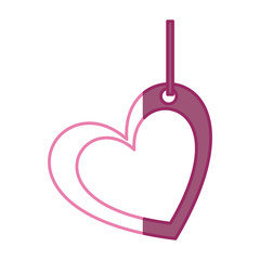 pink color silhouette double love heart figure hanging for decoration vector illustration