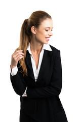 junge lachende Geschäftsfrau vor weißem Hintergrund