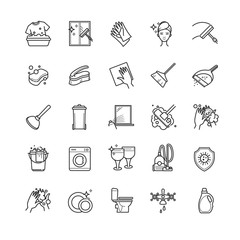 Thin line set - cleaning vector icons