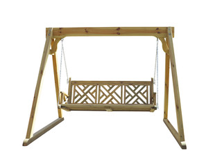 wooden garden swing isolated on white background