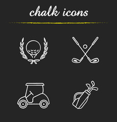 Golf championship chalk icons set