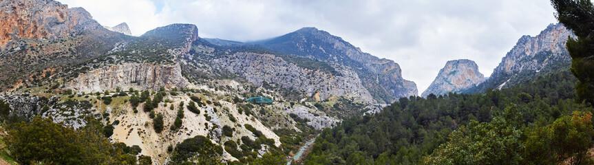 Wall Mural - Caminito del Rey and Valle del Hoyo, Desfiladero de los Gaitanes, Panorama
