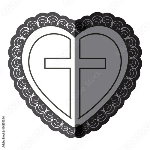 monochrome silhouette heart decorative frame with wooden cross inside vector illustration