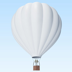 White hot air balloon on clouds background with basket. 3d rendering