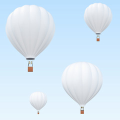 Hot Air balloons, white hot air balloons with basket on sky background. 3d rendering