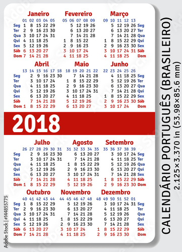portuguese brazilian pocket calendar for 2018 standard size iso 7810 id 1 vector template. Black Bedroom Furniture Sets. Home Design Ideas