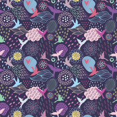Seamless vector pattern with flying birds