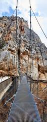 Fototapete - The suspension bridge of Caminito del Rey, Panorama