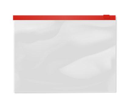 Plastic transparent zipper document bag isolated on white background vector illustration. Packaging design element
