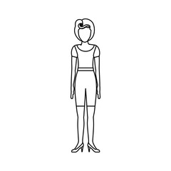 contour body faceless woman with t-shirt and shorts retro style vector illustration