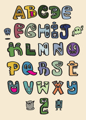 Hand drawn funny monster alphabet. Isolated letters  doodle font