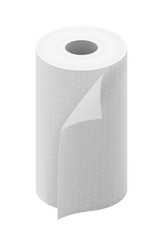White paper kitchen towel roll isolated on white background vector illustration.