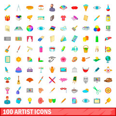 100 artist icons set, cartoon style