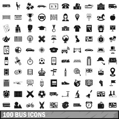 100 bus icons set, simple style
