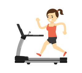 Sporty girl in sportswear running on treadmill isolated on white background vector illustration. Fitness exercise, sport and healthy lifestyle concept in flat design.