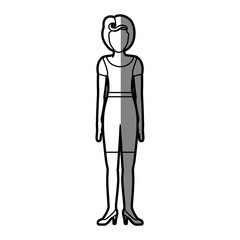 silhouette shading body faceless woman with t-shirt and shorts retro style vector illustration