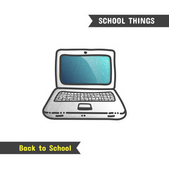 Back to School Supplies, vector hand drawn icon