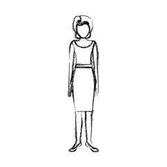 blurred sketch contour body faceless woman with blouse and skirt retro style vector illustration