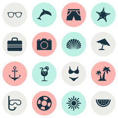 Hot Icons Set. Collection Of Bikini, Goggles, Conch And Other Elements. Also Includes Symbols Such As Sunshades, Palms, Watermelon.