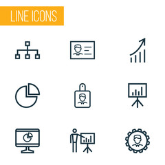 Business Outline Icons Set. Collection Of Analytics, Structure, Whiteboard And Other Elements. Also Includes Symbols Such As Chart, Circle, Boss.