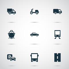 Transportation Icons Set. Collection Of Tanker, Omnibus, Railway And Other Elements. Also Includes Symbols Such As Car, Sign, Cargo.