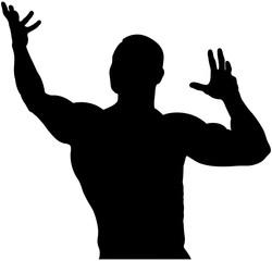 black silhouette back male bodybuilder bodybuilding competitions