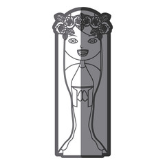 grayscale silhouette of beautiful virgin with crown of roses vector illustration