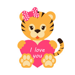 cartoon tiger with bow and heart