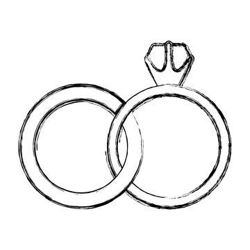 monochrome sketch contour of wedding rings vector illustration