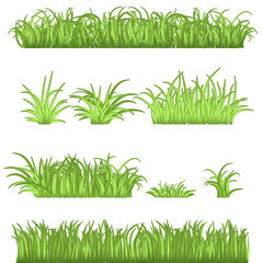 Spring Green Grass Borders Set. 3d Vector Illustrations Isolated