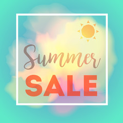 Summer sale card with frame sun and clouds