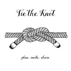 Sailor knot hand drawn vector Illustration. Wedding card illustration.