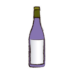 color blurred silhouette with bottle of wine vector illustration
