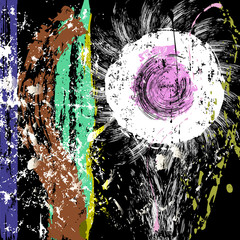 abstract flower composition, paint strokes and splashes, vector