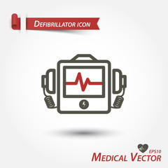 Defibrillator icon . Medical vector .